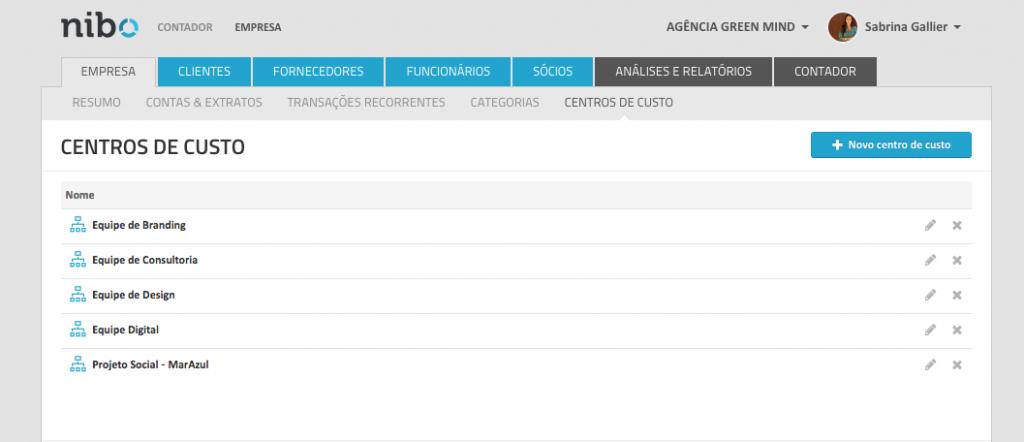 Exemplo de Centro de Custos - Software NIBO