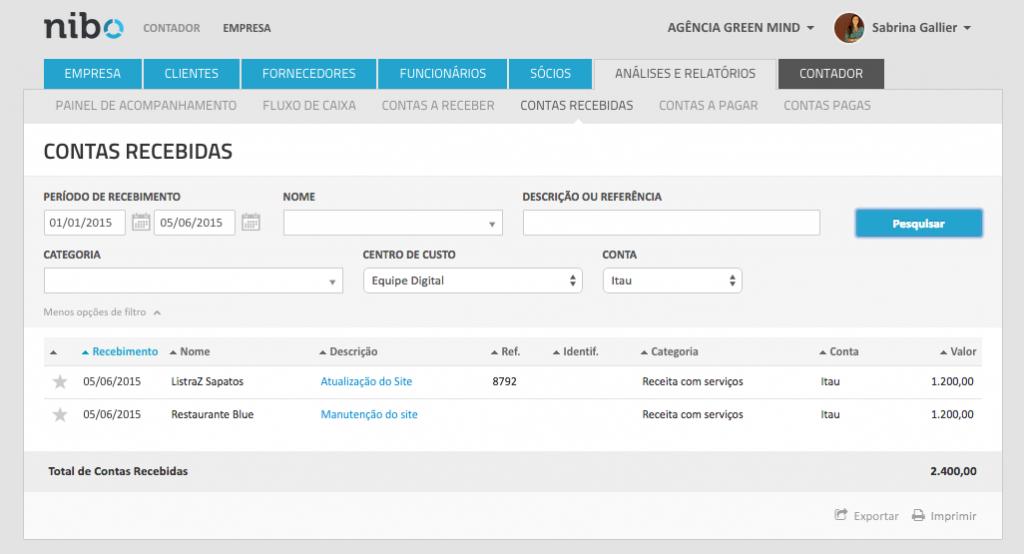 Relatório Exemplo de Centro de Custos - Software